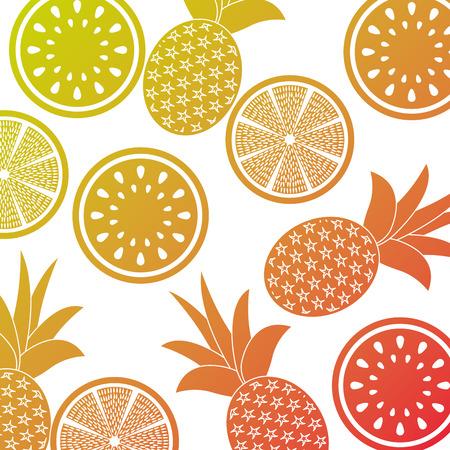 orange pineapple and watermelon fruit seamless pattern vector illustration Иллюстрация