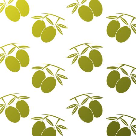 seamless pattern nutrition olive leaves fruit ector illustration