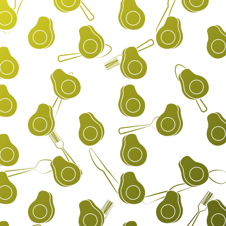 seamless pattern avocado fresh slice fork knife and spoon vector illustration
