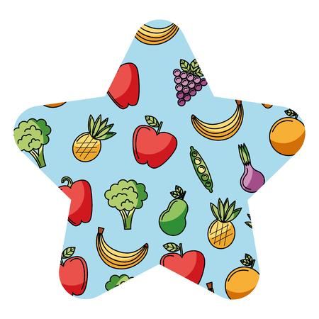 vegetables and fruits fresh food seamless pattern vector illustration star shape design
