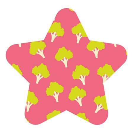 broccoli vegetable healthy seamless pattern vector illustration star shape design