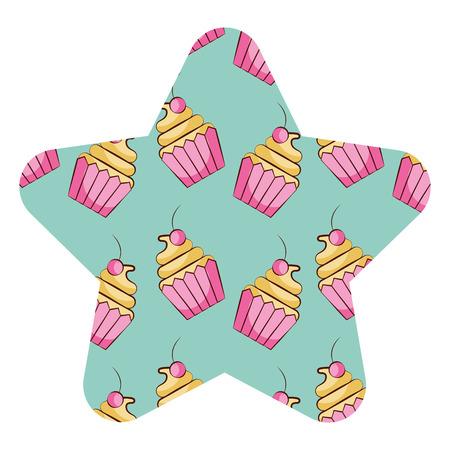 cupcake sweet dessert seamless pattern vector illustration star shape design Illustration