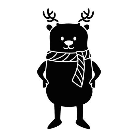 cute reindeer christmas character vector illustration design Ilustrace