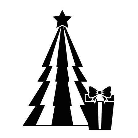 ギフトベクトルイラストデザインのクリスマスツリー