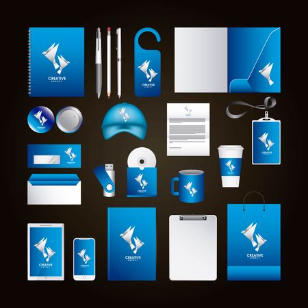 Corporate identity template design with creative agency. Blue color elements business stationery illustration. Ilustração