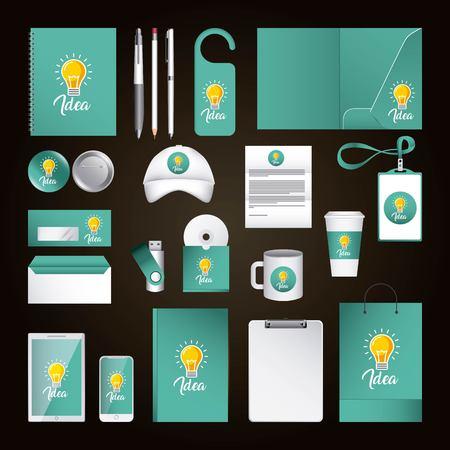 アイデアを持つ企業IDテンプレートのデザイン。緑色の要素ビジネス文具イラスト。  イラスト・ベクター素材