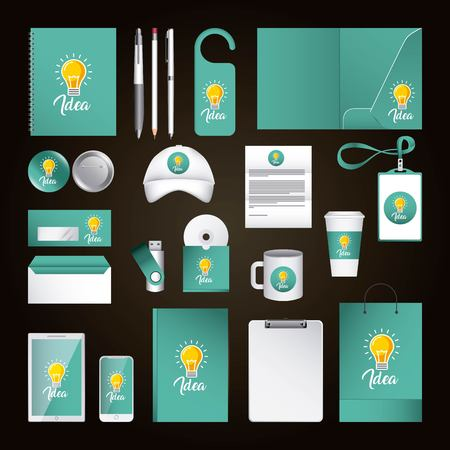 Corporate identity template design with idea. Green color elements business stationery illustration.