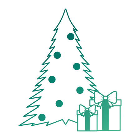 christmas tree with gifts vector illustration design Çizim