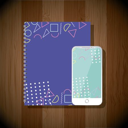 notebook and mobile phone stataionary corporate template color vector illustration