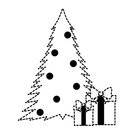 christmas tree with gifts vector illustration design Illustration