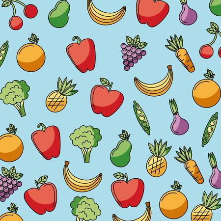 food vegetables and fruit delicious seamless pattern vector illustration