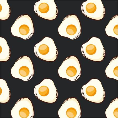 食品目玉焼きダーク背景シームレスパターンベクトルイラスト