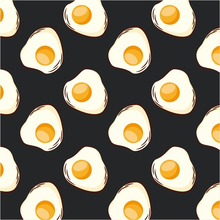 food fried eggs dark background seamless pattern vector illustration