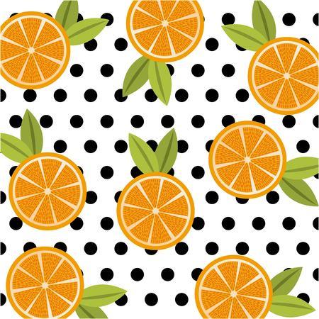フルーツシトラスオレンジフード水玉点シームレスパターンベクトルイラスト  イラスト・ベクター素材
