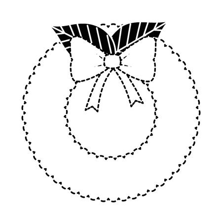 Christmas wreath icon. Stock Vector - 92367461