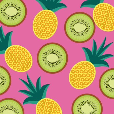 food fruit pineapple and kiwi seamless pattern vector illustration Ilustração