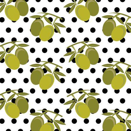 fresh fruit olives leaves and polka dots seamless pattern vector illustration