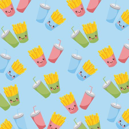 Cute fries, chips and soda food borderless,  repetitive pattern illustration.
