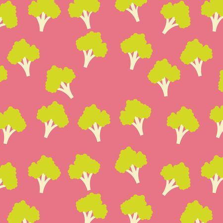 Broccoli vegetable food borderless pattern  illustration.