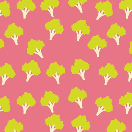 Broccoli vegetable food borderless pattern  illustration.