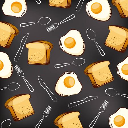 seamless pattern fried eggs bread and fork spoon knife vector illustration  イラスト・ベクター素材