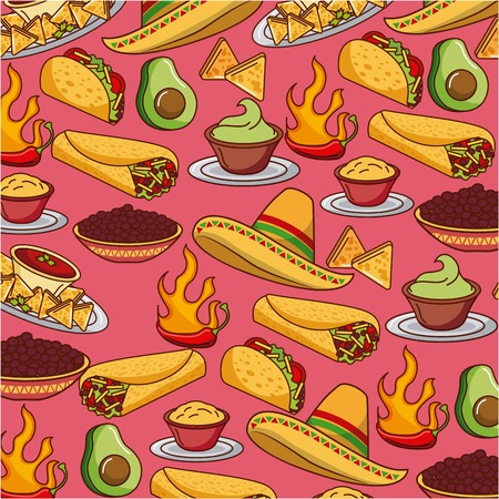 seamless pattern mexican food hat traditional vector illustration