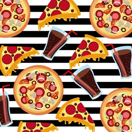 fast food pizza soda stripes background seamless pattern vector illustration