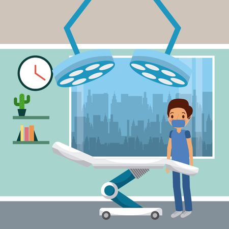 Cartoon illustration of surgeon in operation room with shelf, clock and lamps.
