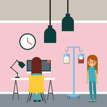Medical staff working desk laptop iv stand room hospital vector illustration. Illustration