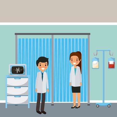 Doctors in medical room,iv stand with blood bag and monitoring machine illustration.