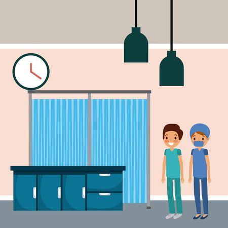 Hospital medical room doctor nurse cabinets vector illustration.