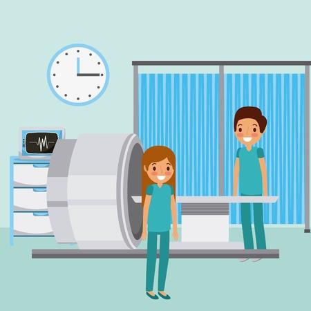 Doctors, scan machine, monitor, medical clock equipment in colored illustration. Illustration