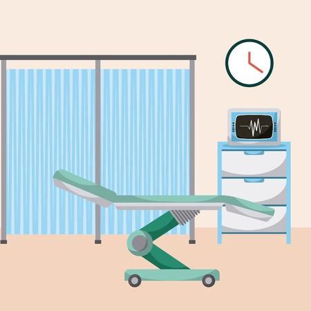 병원, 의료 병동 침대, 컴퓨터 모니터링 그림.