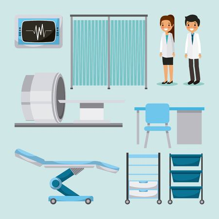 Doctors, medical people, health care equipment, furniture  illustration.