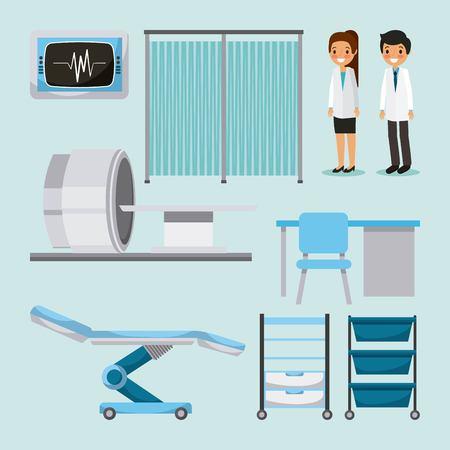 Doctors, medical people, health care equipment, furniture  illustration.