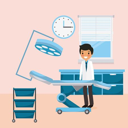 Doctor standing,medical bed illustration. Иллюстрация