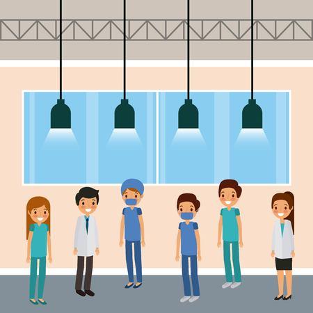 medical staff doctors standing in room lamps windows vector illustration Illustration