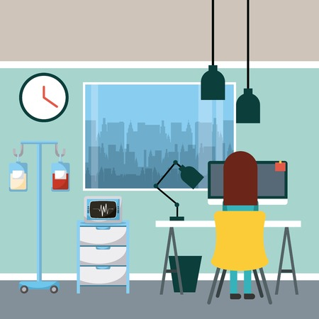 랩톱 컴퓨터, 생리혈 및 창 그림 책상에 앉아 닥터.