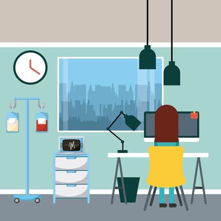 Docteur assis travaillant dans le bureau avec machine lampe ordinateur portable, sang salin et illustration de la fenêtre. Banque d'images - 92402473