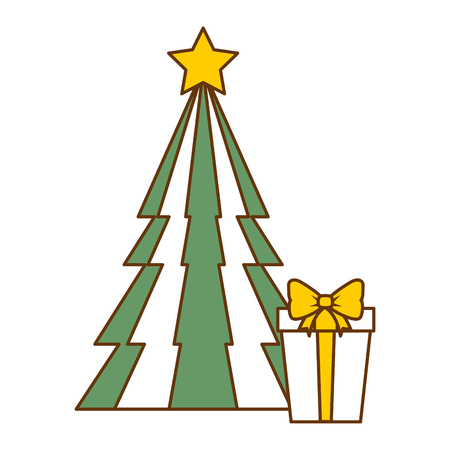 Christmas tree with gifts vector illustration design. Illustration