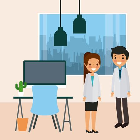 doctors standing in consultation room desk chair window and cactus vector illustration