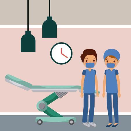 doctors in hospital room wheel bed clock lamps vector illustration Stock Illustratie