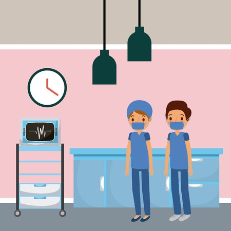 Doctors in hospital room wearing scrub suit,  machine furniture drawers illustration. Stock Illustratie