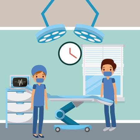 doctors in hospital room surgery bed lights window vector illustration