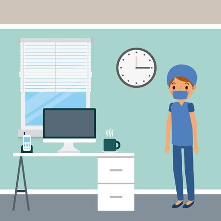Doctor, female surgeon in scrub suit niform wearing mask, desk window illustration.