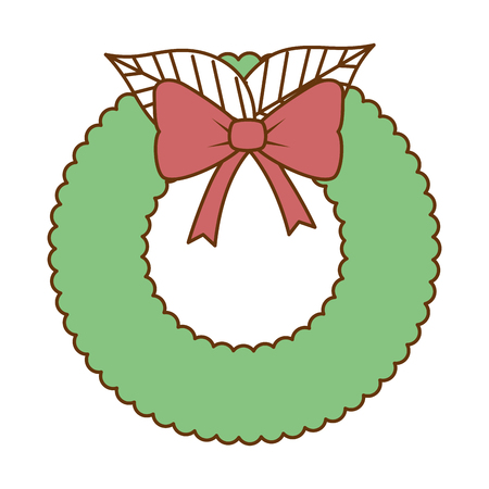 Christmas crown with flowers decorative vector illustration design.  イラスト・ベクター素材