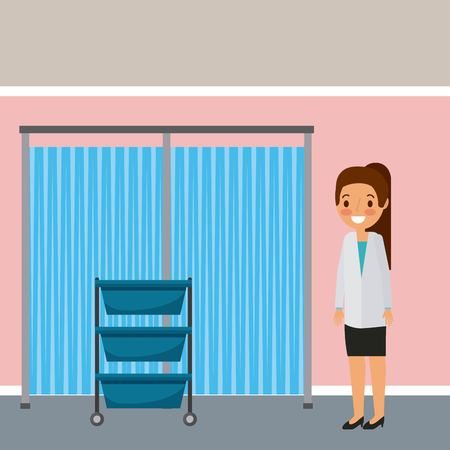 Hospital ward doctor with drawers and curtain illustration.