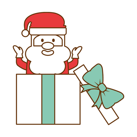 cute santa claus with gift present vector illustration design Illustration