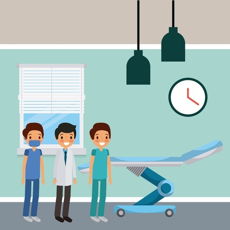 three doctors male in hospital room wheel bed vector illustration Иллюстрация