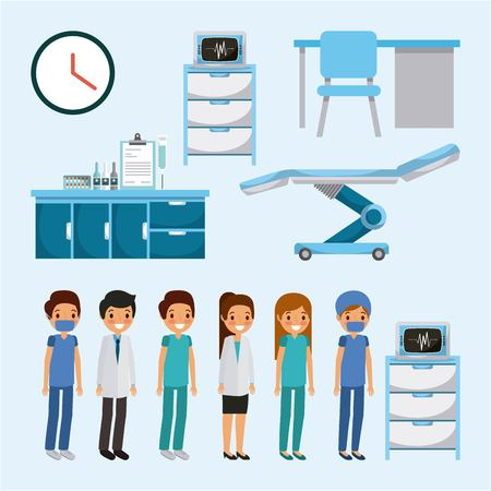 Doctors, medical people with health care equipment furniture illustration.
